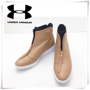 Under Armor Rose Gold Zip up Leather Boot Sneaker